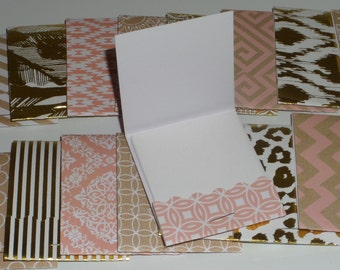 Set of 18 Pink and Gold Matchbook Notepads, party favors, thank you gifts, mini note pad