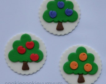 12 edible FRUIT TREE WOODLAND garden farmer disc cake decorations cupcake wedding topper decoration party wedding birthday engagement
