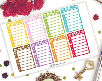 Meals Weekly Tracker Sidebar Planner Stickers | Erin Condren Life Planner Vertical | Tracking | Meal Plan | Habit Tracker