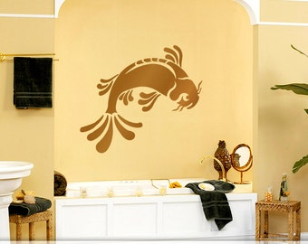 Bathroom Wall Decal, Bathroom Wall Decor, Large Koi Fish Wall Decal, Pisces Sign, Shown in Metallic Copper (0176a4v)