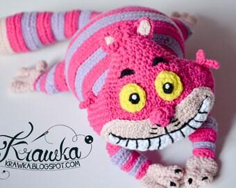 Crochet PATTERN - Pink cat pattern by Krawka, Alice in Wonderland, Lewis Carroll, crazy, pink, mad hatter, rabbit hole