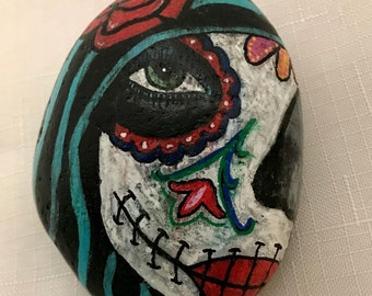Harlequin, goth, disturbed girl painted rock, altar stone, wiccan