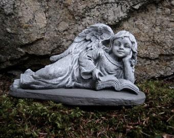 Angel Girl Reading, Concrete Angel Garden Statue, Cement Angel Statues, Garden  Angels,