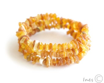 Raw Unpolished Baltic Amber Bracelet on Memory Wire