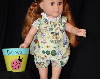 Baby Doll Pajamas in Pale Green; fits American Girl, Madame Alexander, Goetz, Journey Girl, Our Generation, & Bitty Baby Dolls!