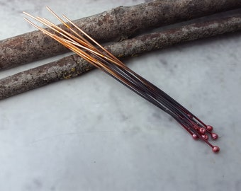 Copper Headpins - Copper Findings - Handmade Copper Headpins - Handmade Copper Findings - Copper Ball Pins - Copper Ball Headpins (RED)