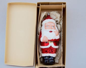 Vintage Christmas Glass Ornament Large Santa . West Germany with BOX....