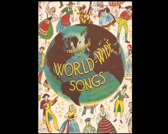 Treasure Chest of World-Wide Songs - Vintage Sheet Music for Piano and Voice Book - Published by Treasure Chest Publications  c. 1936