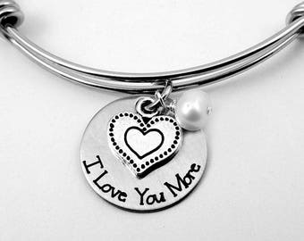 I Love You More Bangle Bracelet - Love You More Necklace -  Engraved Heart Charm Jewelry -  Mother's Day - Love You More Keychain