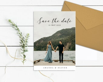 Photo Save the Date Template | Photo Save Our Date Printable | Editable Save the Date Card Photo | Custom Save the Date Postcard Template