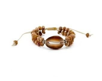 Cowrie Bracelet, Cowrie Coral Bracelet, Womens Bracelet, Boho Jewelry,Natural coral Beads, Tassel Bracelet, Beaded Bracelet, Layers Bracelet