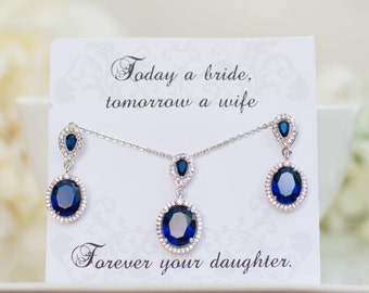 Blue Sapphire Earrings | Sapphire Necklaces | Bridesmaid Gifts | Bridesmaid Earrings | Personalized Bridesmaid | Navy Blue Wedding