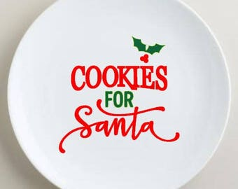 x5 Cookies for Santa vinyl decal, make your own Christmas plate