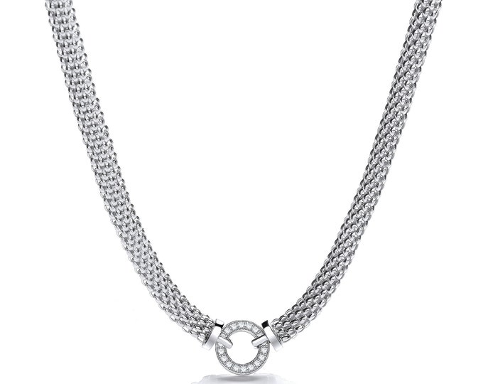 """Sterling Silver 17"""" Popcorn Mesh Necklace With Cz Eternity Bolt Link Ring"""