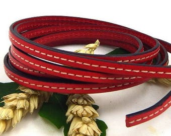 1 meter couture cpc5rou Red 5mm flat leather