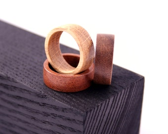 Natural wooden ring -  walnut wood/sapele wood/ oak wood. Unisex wooden ring. Wooden jewelry.