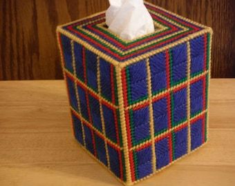 Easter Gift, Plastic Canvas Tissue Cover Box, Tartan, needlepoint item,  Tartan Decor, tartan gift, Christmas gift, Easter Gifts