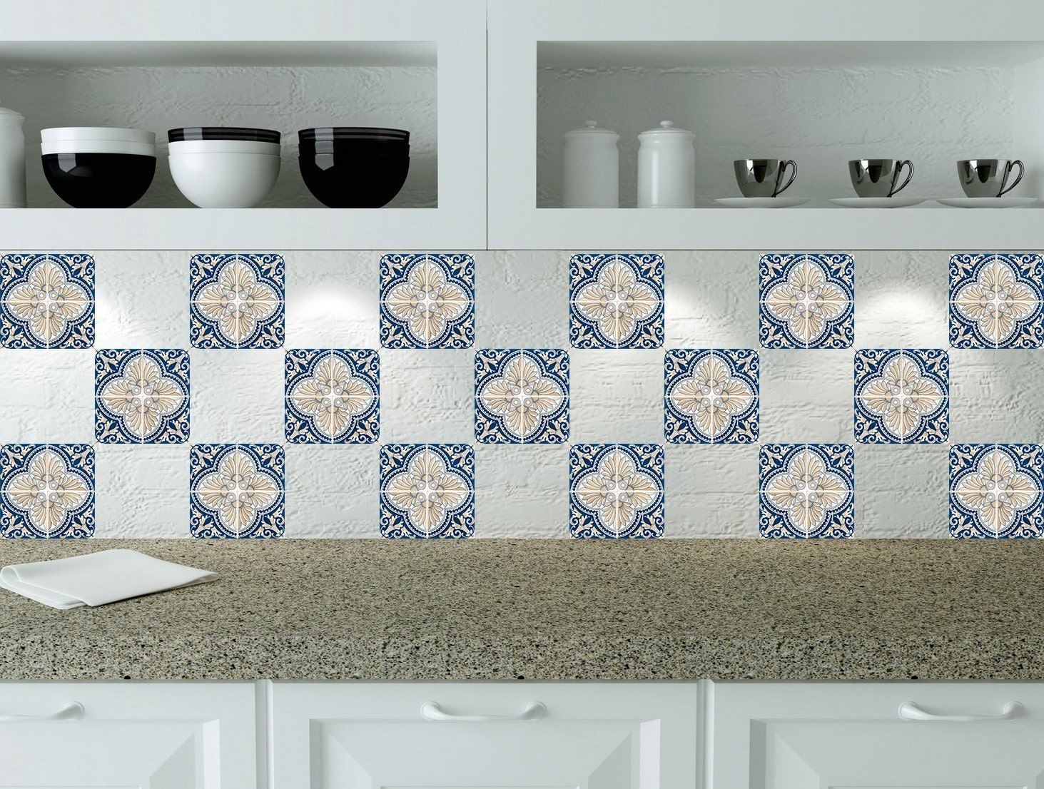 Design 24 tile stickers Mexican Talavera style Splashback