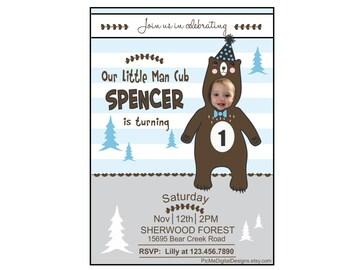 Custom Photo Invitation Little Man Cub, Bear Cub