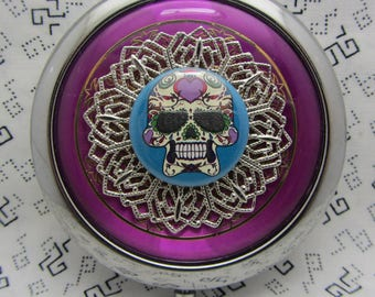Compact Mirror Sugar Skull Comes With Pouch