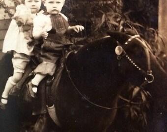 Traveling Pony Girl Boy Kitten Vintage Photo