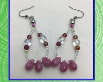 Mauve Tear Drop Dangle Earrings - Mauve and Clear Beaded Earrings - Handcrafted One of a Kind Earrings - Unique Gift Ideas