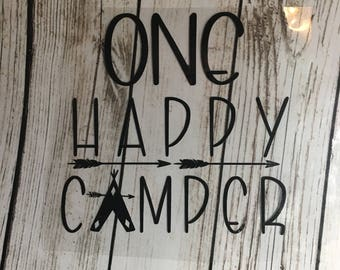 One Happy Camper Iron On / Camping Life decal iron on / Camping Decals / iron on camping decal