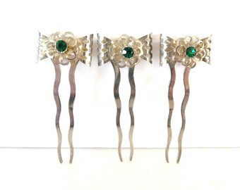 Three Hair Comb Picks Silver Metal Emerald Green Rhinestones Wedding Hair Accessory from TreasuresOfGrace