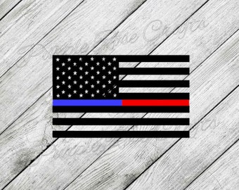 Thin Blue Red Line Flag LEO Police Deputy Sheriff Fireman Firefighter Decal -Sticker - cling - window - car  - cup - computer - laptop