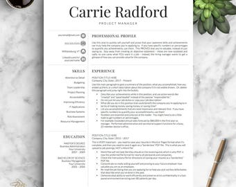 Professional Resume Template For Word U0026 Pages | Professional CV Template |  One, Two And