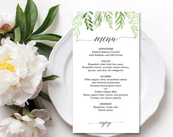 Printable Wedding Menu, Botanical Greenery Wedding Menu Template, Editable, Botanical Greenery