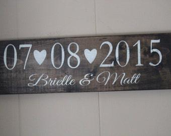 Wedding Date Sign, Wedding Name Sign, Rustic Wedding
