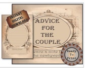 Advice for the Couple Cards Printable Set 2 Files Steampunk Wild West Wedding Old Fashioned Victorian Lined Cards Table Sign Aged Papers