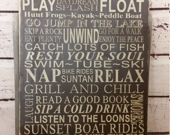 Cabin Rules Sign primitive Typography Word Art  16x30