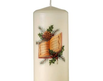 First Noel Hymm Book Unscented Ivory Slow Burning Church Pillar Candle