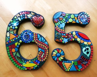 """MOSAIC HOUSE NUMBERS - 9"""" Tall - Totally Customizable Mixed Media  - 2 Fonts Offered - Order Your 9"""" Size Numbers From This Listing / Ooak!"""
