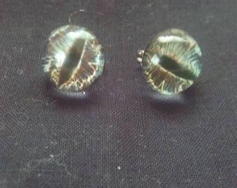 Small Grey Dragon Eye Stud Post Earrings, Dragon Eye Jewelry, SciFi Jewelry, Fantasy Jewelry