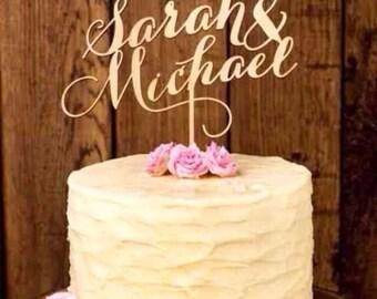 Custom personalised Gold Wedding Cake Topper