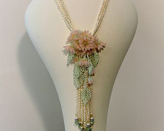 Gerbera Garden, Bead Embroidered Necklace, Bead Woven Flower, Wedding, Mother of the bride, Pearls