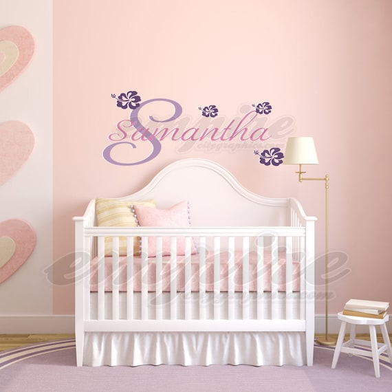 Personalized Name Decal FULL COLOR Girls Name Decal Baby Name Wall Decal Tropical Flowers Wall Sticker Hibiscus Stickers