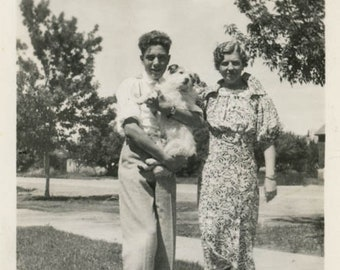 Vintage photo 1939 Mom and Son Who Holds the FAmily Dog