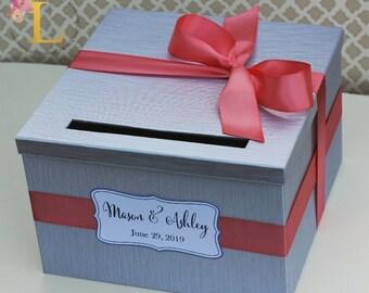 Wedding Card Box Silver Coral Money Holder Customizable Card Holder Weddings Card Gift box