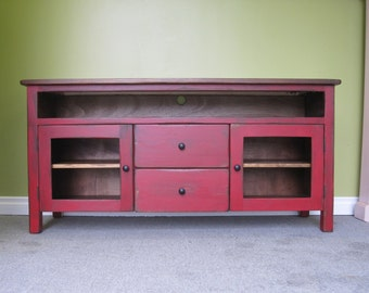 Tv Center Wood Tv Wall Unit Hand Painted Media Center