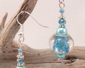 """""""turquoise glitter"""" Silver earrings jewelry"""