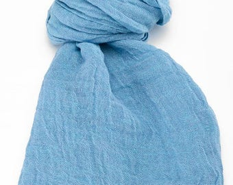 Scarves For Women | Azure Blue Scarf | Pure Linen Scarf | Linen Wrap | Linen Shawl | A Scarf | Mens Scarf | Soft Linen Scarf | Natural Scarf