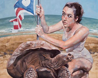 "Fine Art Oil Painting, Original Contemporary Art, Surreal, Figurative Painting with Giant Tortoise and Flag, Unique Decor - ""Reclamation"""