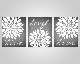 Exceptional Grey Flower Wall Art   Live Laugh Love   Bedroom Dandelion Art   Grey Decor