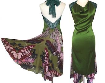 Green butterfly silk dress, backless tango dress. Wedding guest dress with open back. High low ballroom dance dress with tail. Milonga dress