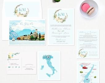Lake Garda Italy European Destination Wedding Invitation Illustrated Map watercolor drawings RSVP Deposit Payment