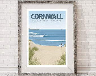 A3 Surf retro travel Poster. Cornwall, Surfing